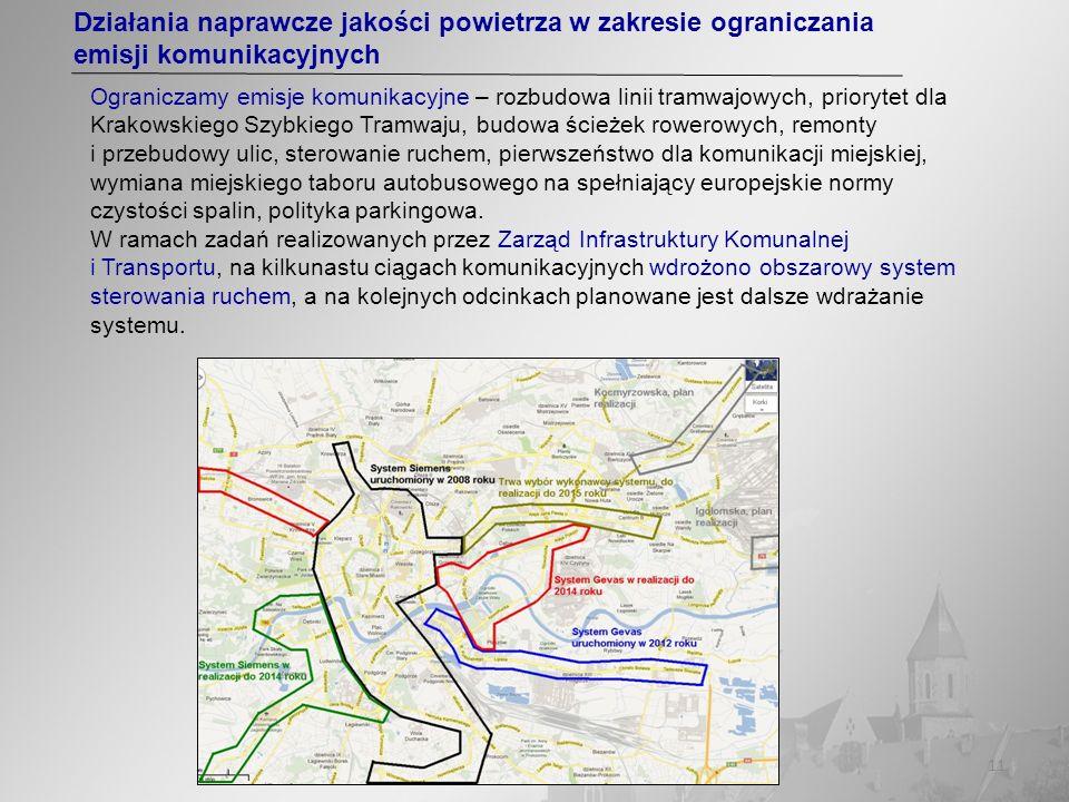 11 Działania naprawcze jakości powietrza w zakresie ograniczania emisji komunikacyjnych Ograniczamy emisje komunikacyjne – rozbudowa linii tramwajowyc