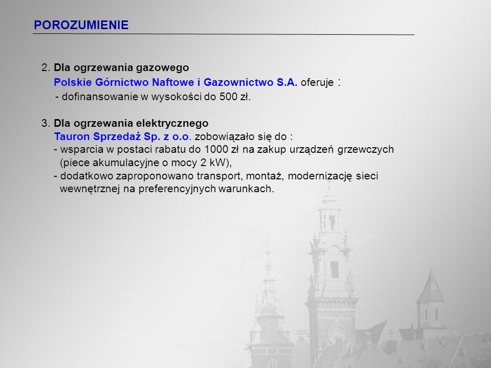 7 POROZUMIENIE 2. Dla ogrzewania gazowego Polskie Górnictwo Naftowe i Gazownictwo S.A. oferuje : - dofinansowanie w wysokości do 500 zł. 3. Dla ogrzew