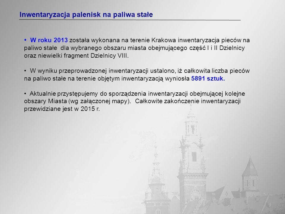8 Inwentaryzacja palenisk na paliwa stałe W roku 2013 została wykonana na terenie Krakowa inwentaryzacja pieców na paliwo stałe dla wybranego obszaru