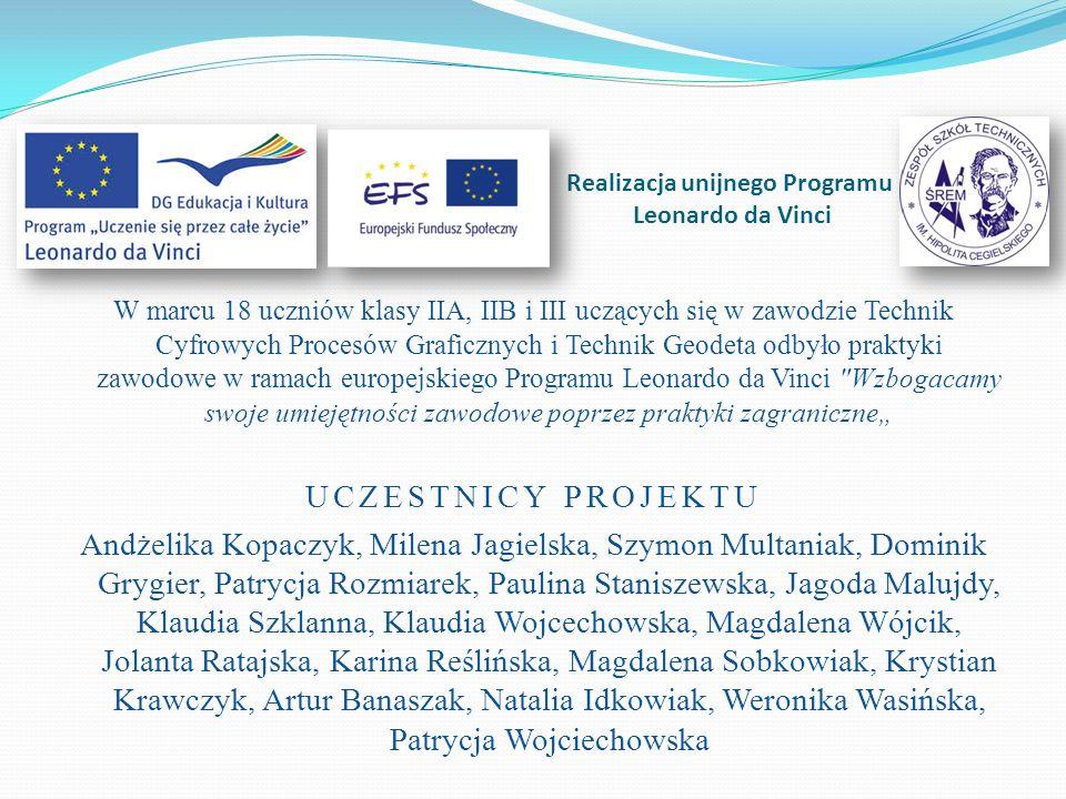 Geodeci odbywali swoje praktyki realizując projekty geodezyjne w firmie Iniciativas el Condado S.L Realizacja unijnego Programu Leonardo da Vinci