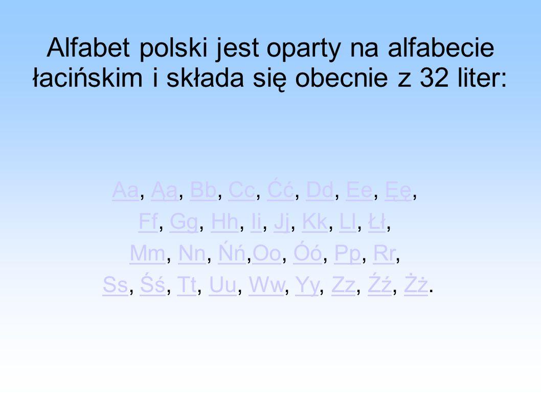 Alfabet polski jest oparty na alfabecie łacińskim i składa się obecnie z 32 liter: AaAa, Ąą, Bb, Cc, Ćć, Dd, Ee, Ęę,ĄąBbCcĆćDdEeĘę FfFf, Gg, Hh, Ii, J