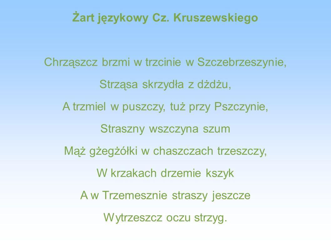 Żart językowy Cz. Kruszewskiego Chrząszcz brzmi w trzcinie w Szczebrzeszynie, Strząsa skrzydła z dżdżu, A trzmiel w puszczy, tuż przy Pszczynie, Stras