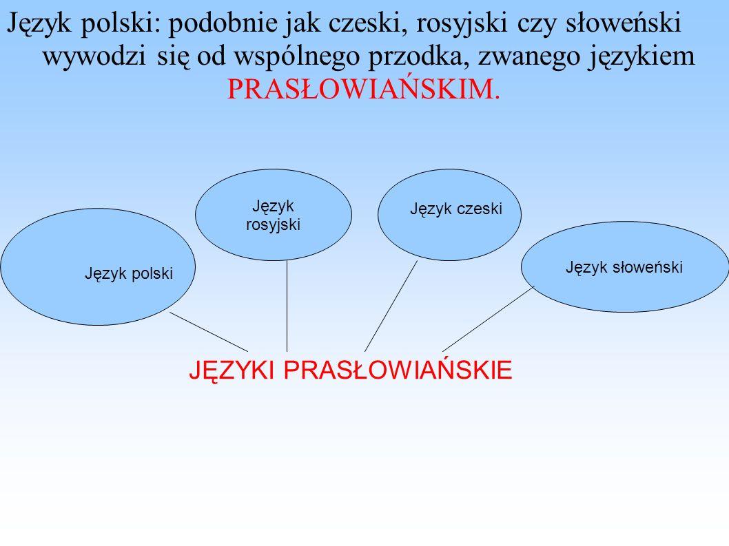 Język polski: podobnie jak czeski, rosyjski czy słoweński wywodzi się od wspólnego przodka, zwanego językiem PRASŁOWIAŃSKIM. Język rosyjski Język słow
