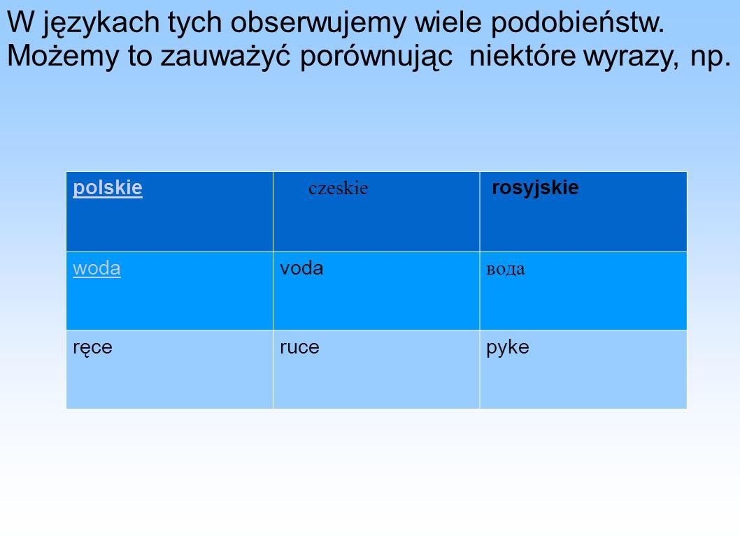 W językach tych obserwujemy wiele podobieństw. Możemy to zauważyć porównując niektóre wyrazy, np. polskie czeskie rosyjskie wodavoda вода ręcerucepyke