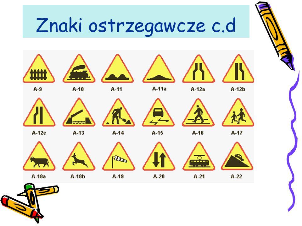 Znaki ostrzegawcze Znaki ostrzegawcze uprzedzają o miejscach na drodze, w których występuje lub może występować niebezpieczeństwo, oraz zobowiązują uczestników ruchu do zachowania szczególnej ostrożności.