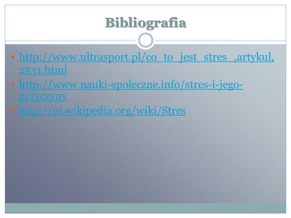 Bibliografia http://www.ultrasport.pl/co_to_jest_stres_,artykul, 2531.html http://www.ultrasport.pl/co_to_jest_stres_,artykul, 2531.html http://www.na