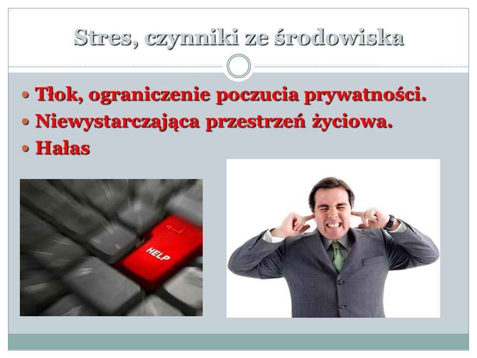 Stres, czynniki ze środowiska Tłok, ograniczenie poczucia prywatności. Tłok, ograniczenie poczucia prywatności. Niewystarczająca przestrzeń życiowa. N