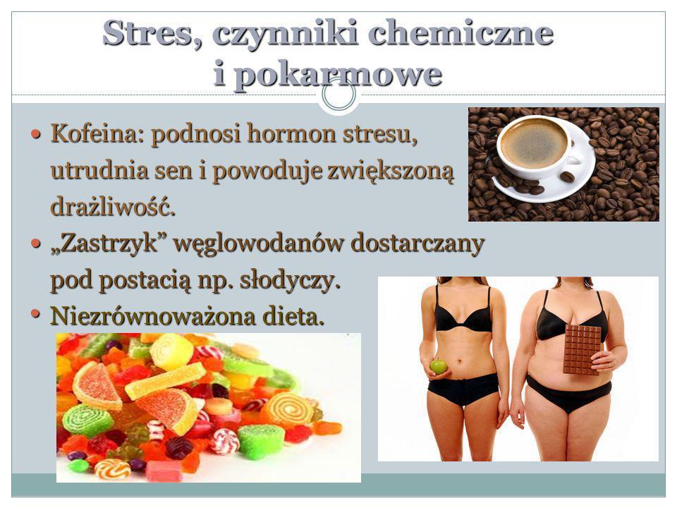 Stres, czynniki chemiczne i pokarmowe Kofeina: podnosi hormon stresu, Kofeina: podnosi hormon stresu, utrudnia sen i powoduje zwiększoną drażliwość. Z
