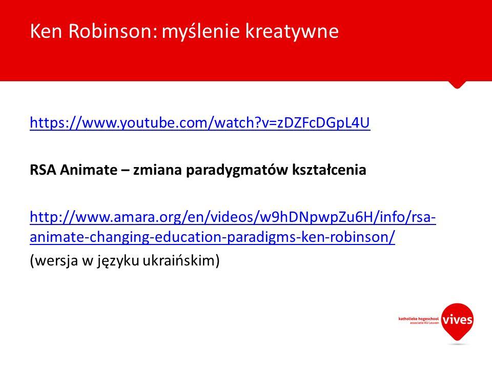 https://www.youtube.com/watch?v=zDZFcDGpL4U RSA Animate – zmiana paradygmatów kształcenia http://www.amara.org/en/videos/w9hDNpwpZu6H/info/rsa- animat