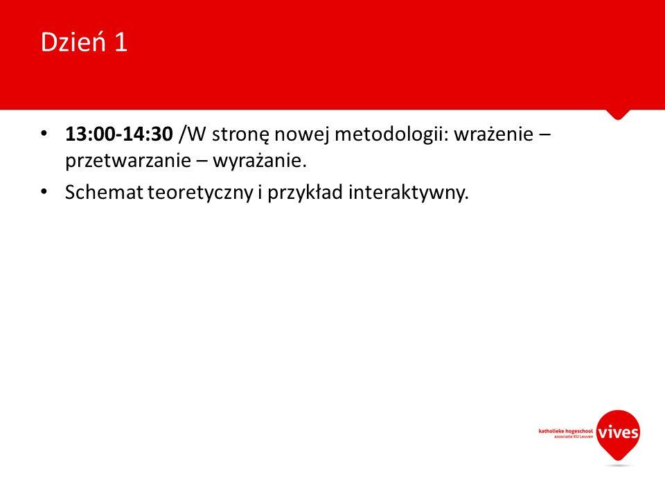 13:00-14:30 /W stronę nowej metodologii: wrażenie – przetwarzanie – wyrażanie. Schemat teoretyczny i przykład interaktywny. Dzień 1