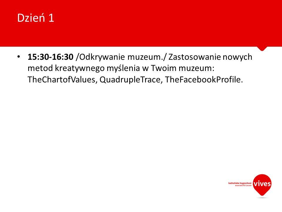15:30-16:30 /Odkrywanie muzeum./ Zastosowanie nowych metod kreatywnego myślenia w Twoim muzeum: TheChartofValues, QuadrupleTrace, TheFacebookProfile.