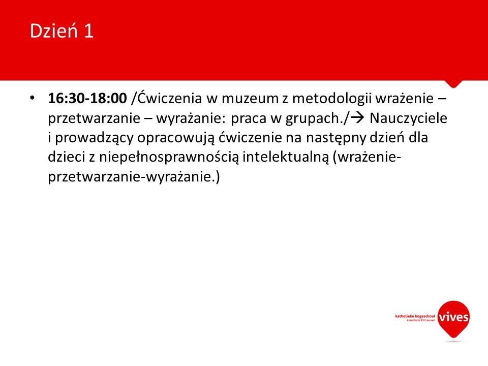 16:30-18:00 /Ćwiczenia w muzeum z metodologii wrażenie – przetwarzanie – wyrażanie: praca w grupach./ Nauczyciele i prowadzący opracowują ćwiczenie na