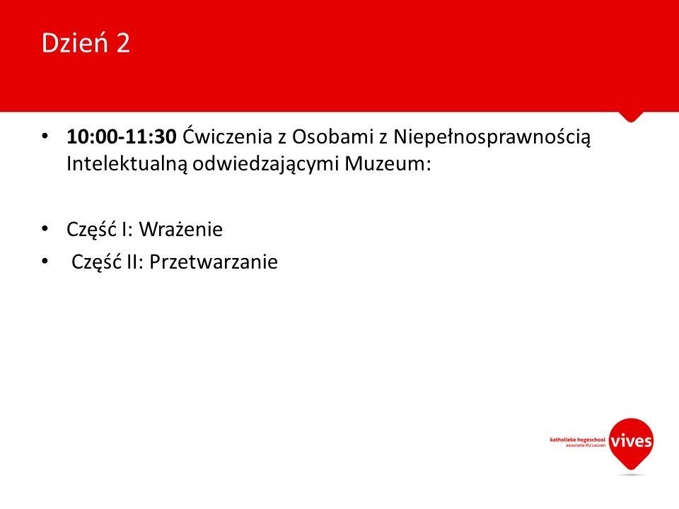 10:00-11:30 Ćwiczenia z Osobami z Niepełnosprawnością Intelektualną odwiedzającymi Muzeum: Część I: Wrażenie Część II: Przetwarzanie Dzień 2