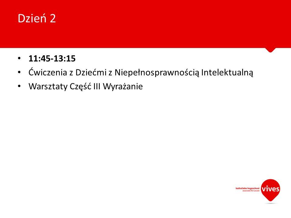 11:45-13:15 Ćwiczenia z Dziećmi z Niepełnosprawnością Intelektualną Warsztaty Część III Wyrażanie Dzień 2