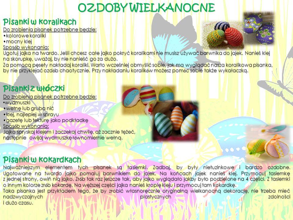 Pisanki w koralikach Do zrobienia pisanek potrzebne będzie: kolorowe koralikikolorowe koraliki mocny klejmocny klej Spos ó b wykonania: Ugotuj jajka na twardo.