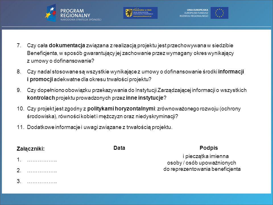 Trwałość – źródła informacji Rozporządzenie Rady (WE) nr 1083/2006 - art.