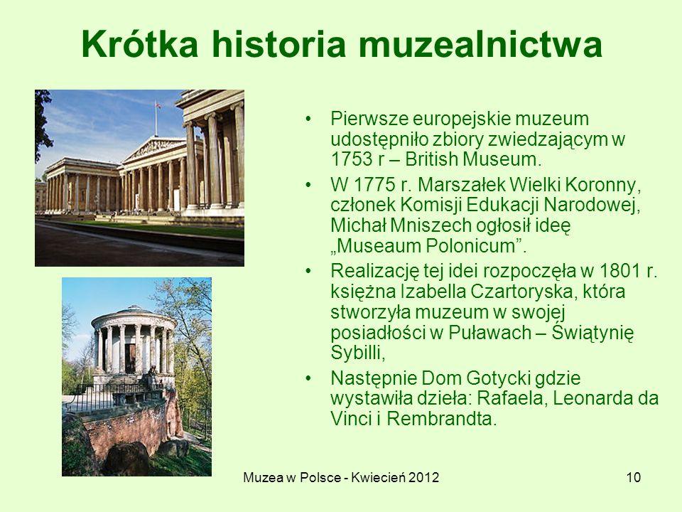 Muzea w Polsce - Kwiecień 201210 Krótka historia muzealnictwa Pierwsze europejskie muzeum udostępniło zbiory zwiedzającym w 1753 r – British Museum. W