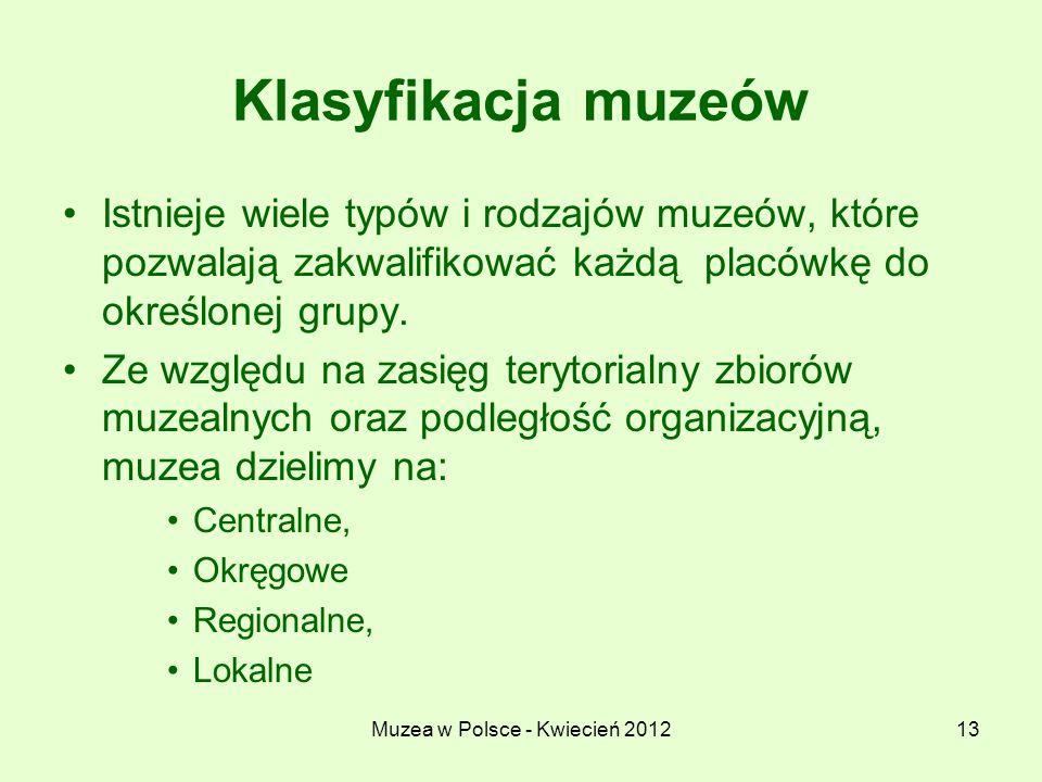 Muzea w Polsce - Kwiecień 201213 Klasyfikacja muzeów Istnieje wiele typów i rodzajów muzeów, które pozwalają zakwalifikować każdą placówkę do określon