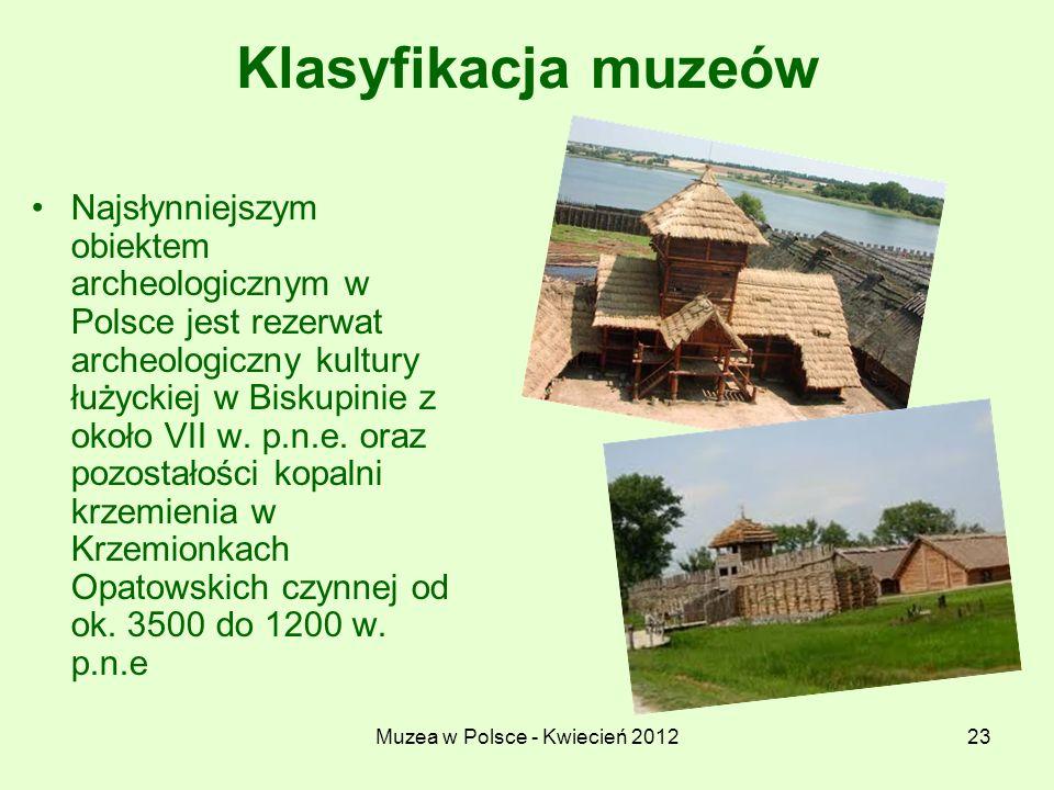 Muzea w Polsce - Kwiecień 201223 Klasyfikacja muzeów Najsłynniejszym obiektem archeologicznym w Polsce jest rezerwat archeologiczny kultury łużyckiej