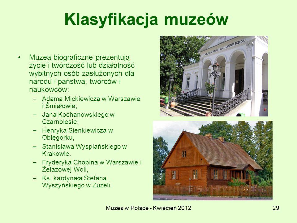 Muzea w Polsce - Kwiecień 201229 Klasyfikacja muzeów Muzea biograficzne prezentują życie i twórczość lub działalność wybitnych osób zasłużonych dla na