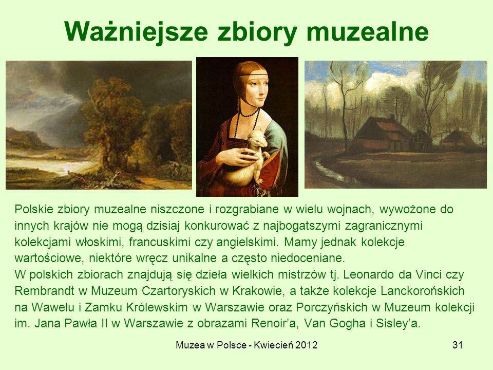 Muzea w Polsce - Kwiecień 201231 Ważniejsze zbiory muzealne Polskie zbiory muzealne niszczone i rozgrabiane w wielu wojnach, wywożone do innych krajów