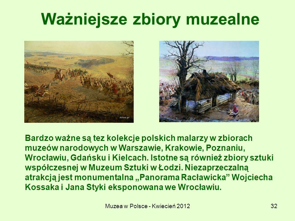 Muzea w Polsce - Kwiecień 201232 Ważniejsze zbiory muzealne Bardzo ważne są tez kolekcje polskich malarzy w zbiorach muzeów narodowych w Warszawie, Kr