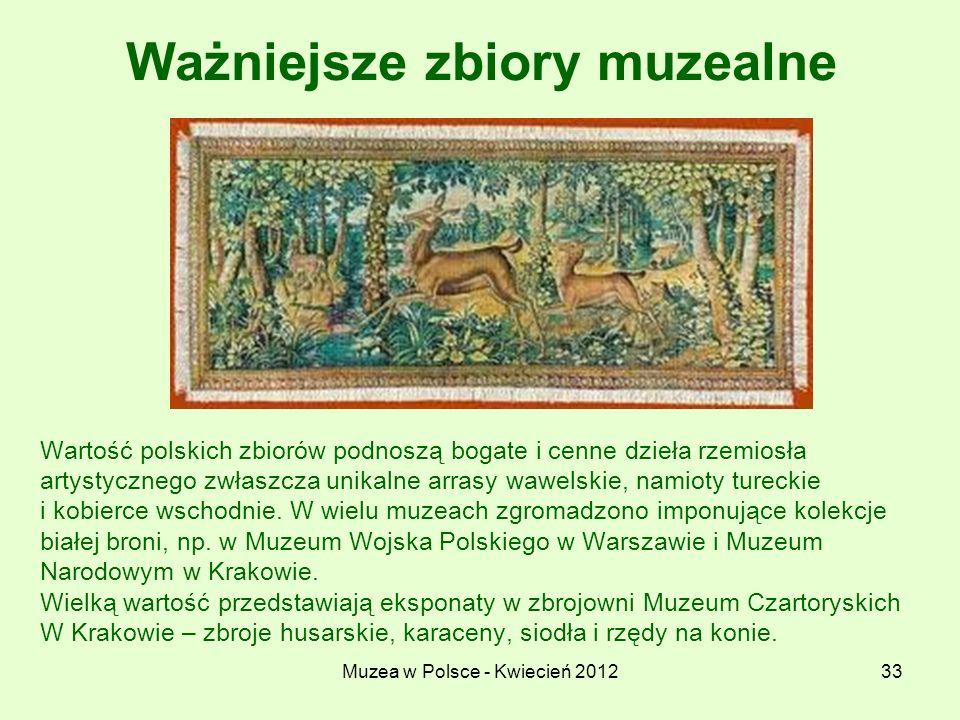 Muzea w Polsce - Kwiecień 201233 Ważniejsze zbiory muzealne Wartość polskich zbiorów podnoszą bogate i cenne dzieła rzemiosła artystycznego zwłaszcza