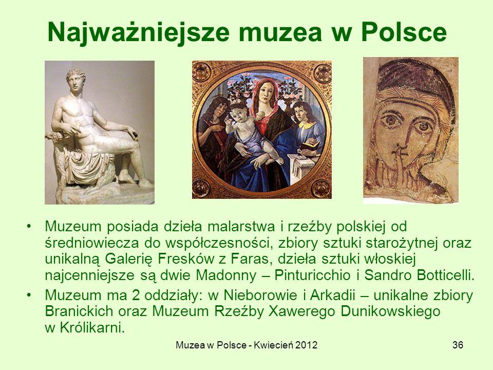 Muzea w Polsce - Kwiecień 201236 Najważniejsze muzea w Polsce Muzeum posiada dzieła malarstwa i rzeźby polskiej od średniowiecza do współczesności, zb