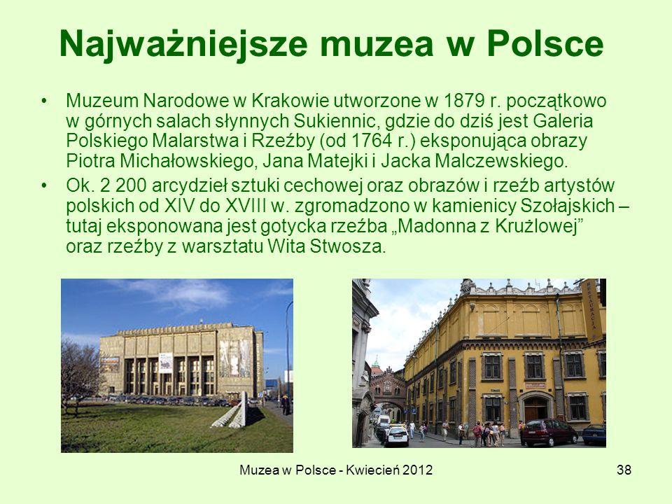 Muzea w Polsce - Kwiecień 201238 Najważniejsze muzea w Polsce Muzeum Narodowe w Krakowie utworzone w 1879 r. początkowo w górnych salach słynnych Suki