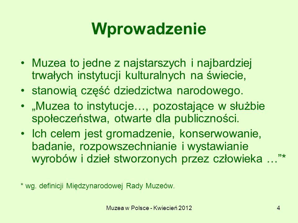 Muzea w Polsce - Kwiecień 20124 Wprowadzenie Muzea to jedne z najstarszych i najbardziej trwałych instytucji kulturalnych na świecie, stanowią część d