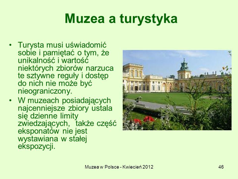 Muzea w Polsce - Kwiecień 201246 Muzea a turystyka Turysta musi uświadomić sobie i pamiętać o tym, że unikalność i wartość niektórych zbiorów narzuca