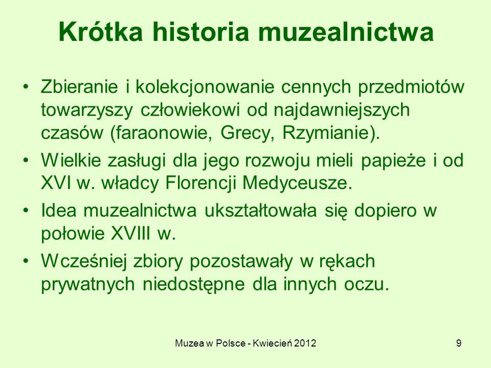 Muzea w Polsce - Kwiecień 20129 Krótka historia muzealnictwa Zbieranie i kolekcjonowanie cennych przedmiotów towarzyszy człowiekowi od najdawniejszych