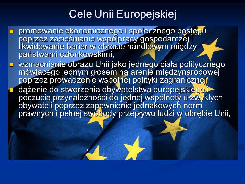 rozwijanie obszaru wolności, bezpieczeństwa i sprawiedliwego traktowania, którym ma być UE poprzez wprowadzanie wspólnych norm prawnych, socjalnych i stałą poprawę poziomu życia państw uboższych, rozwijanie obszaru wolności, bezpieczeństwa i sprawiedliwego traktowania, którym ma być UE poprzez wprowadzanie wspólnych norm prawnych, socjalnych i stałą poprawę poziomu życia państw uboższych, ujednolicenie struktury gospodarczej krajów członkowskich, wyrównanie rozwoju gospodarczego regionów, ujednolicenie struktury gospodarczej krajów członkowskich, wyrównanie rozwoju gospodarczego regionów, polepszenie standardów życia.