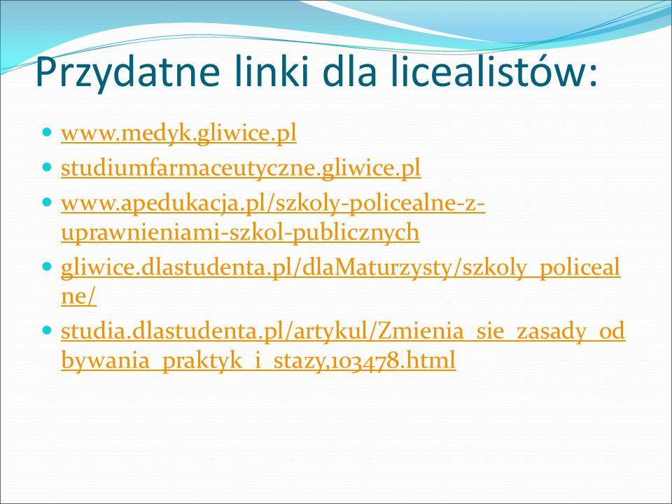 Przydatne linki dla licealistów: www.medyk.gliwice.pl studiumfarmaceutyczne.gliwice.pl www.apedukacja.pl/szkoly-policealne-z- uprawnieniami-szkol-publ