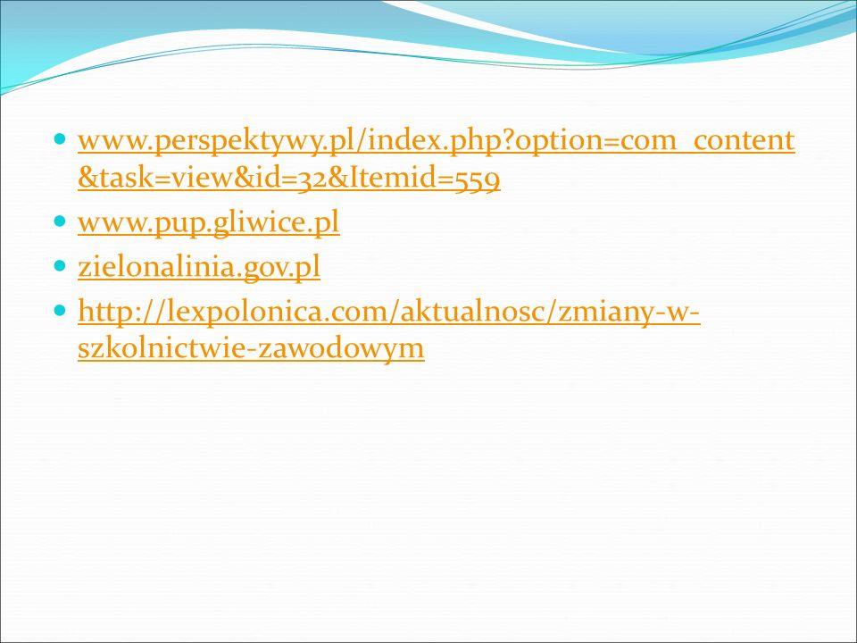 www.perspektywy.pl/index.php?option=com_content &task=view&id=32&Itemid=559 www.perspektywy.pl/index.php?option=com_content &task=view&id=32&Itemid=559 www.pup.gliwice.pl zielonalinia.gov.pl http://lexpolonica.com/aktualnosc/zmiany-w- szkolnictwie-zawodowym http://lexpolonica.com/aktualnosc/zmiany-w- szkolnictwie-zawodowym