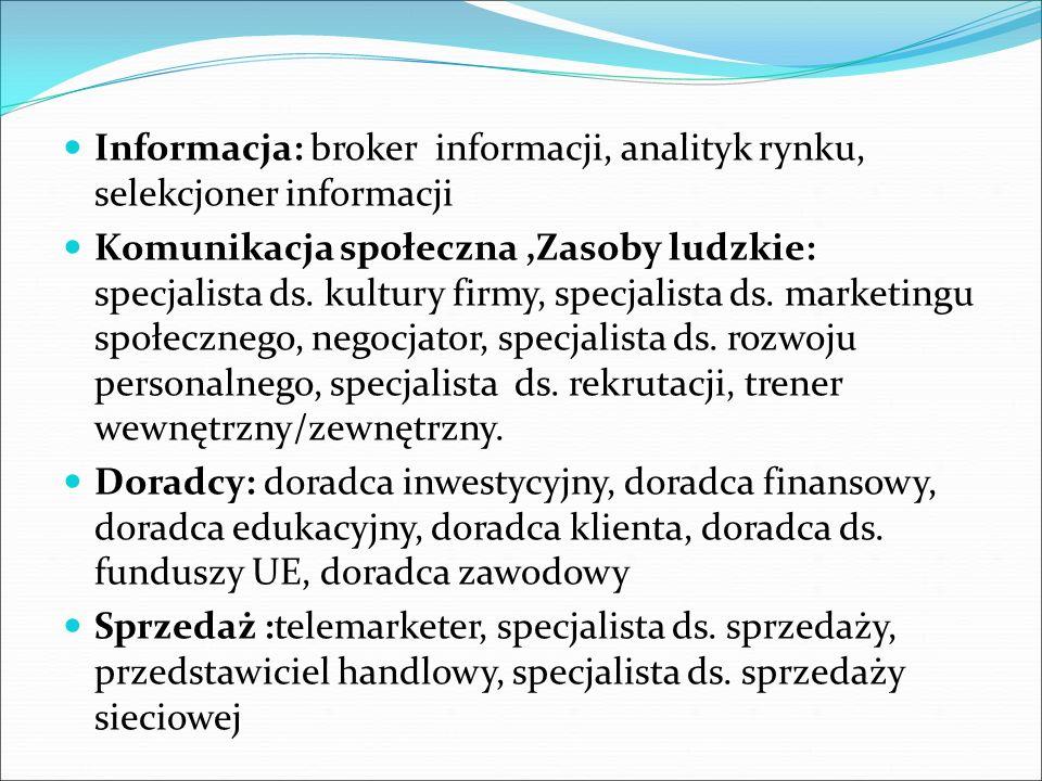 Informacja: broker informacji, analityk rynku, selekcjoner informacji Komunikacja społeczna,Zasoby ludzkie: specjalista ds.