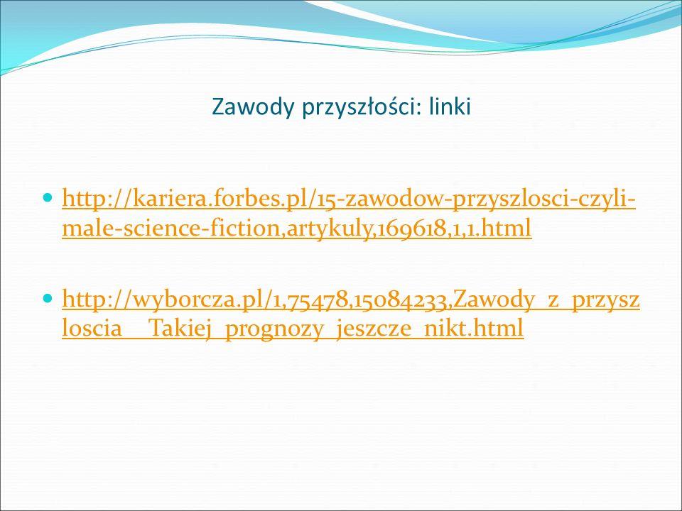 Zawody przyszłości: linki http://kariera.forbes.pl/15-zawodow-przyszlosci-czyli- male-science-fiction,artykuly,169618,1,1.html http://kariera.forbes.pl/15-zawodow-przyszlosci-czyli- male-science-fiction,artykuly,169618,1,1.html http://wyborcza.pl/1,75478,15084233,Zawody_z_przysz loscia__Takiej_prognozy_jeszcze_nikt.html http://wyborcza.pl/1,75478,15084233,Zawody_z_przysz loscia__Takiej_prognozy_jeszcze_nikt.html