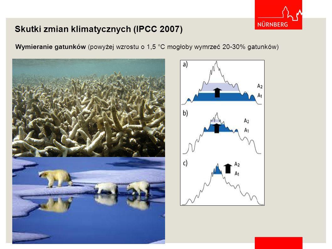 Wymieranie gatunków (powyżej wzrostu o 1,5 °C mogłoby wymrzeć 20-30% gatunków) Skutki zmian klimatycznych (IPCC 2007)