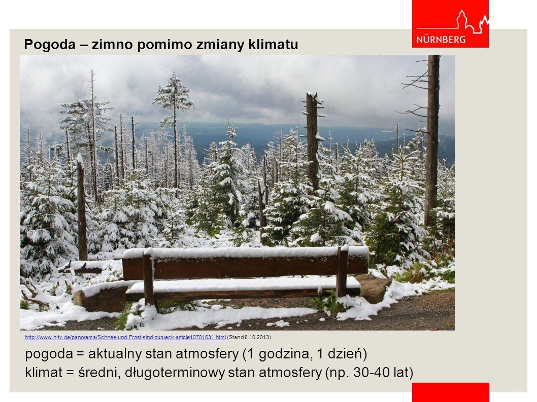 Pogoda – zimno pomimo zmiany klimatu pogoda = aktualny stan atmosfery (1 godzina, 1 dzień) klimat = średni, długoterminowy stan atmosfery (np. 30-40 l