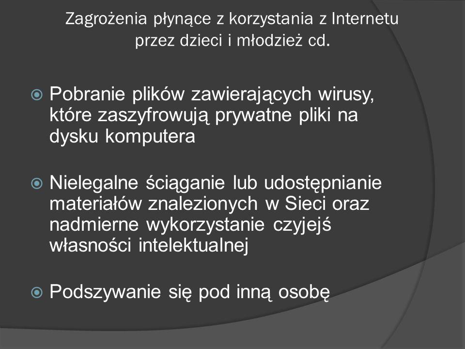 Zagrożenia płynące z korzystania z Internetu przez dzieci i młodzież cd. Pobranie plików zawierających wirusy, które zaszyfrowują prywatne pliki na dy