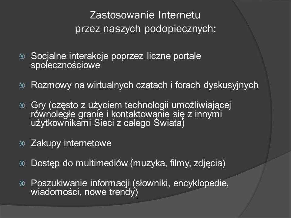 Zastosowanie Internetu przez naszych podopiecznych: Socjalne interakcje poprzez liczne portale społecznościowe Rozmowy na wirtualnych czatach i forach