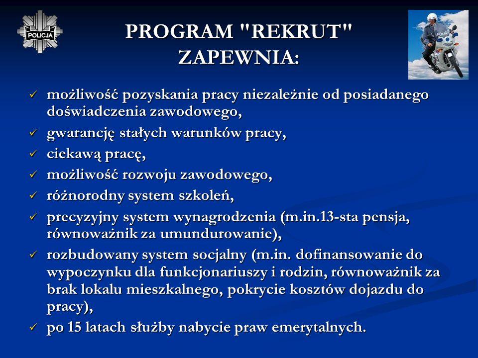 POSTĘPOWANIE KWALIFIKACYJNE DO PROGRAMU REKRUT 9. Postępowanie sprawdzające przeprowadzane w celu potwierdzenia nieposzlakowanej opinii kandydata do s
