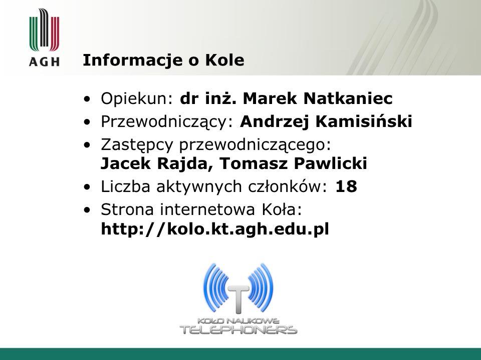 Informacje o Kole Opiekun: dr inż.