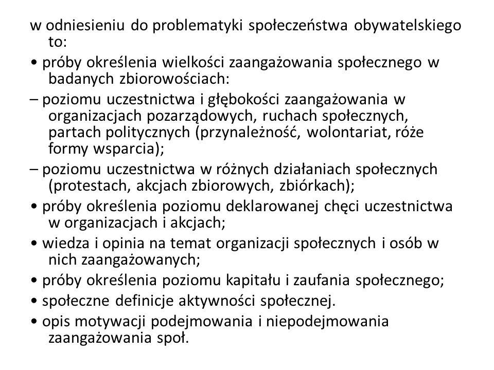 w odniesieniu do problematyki społeczeństwa obywatelskiego to: próby określenia wielkości zaangażowania społecznego w badanych zbiorowościach: – pozio