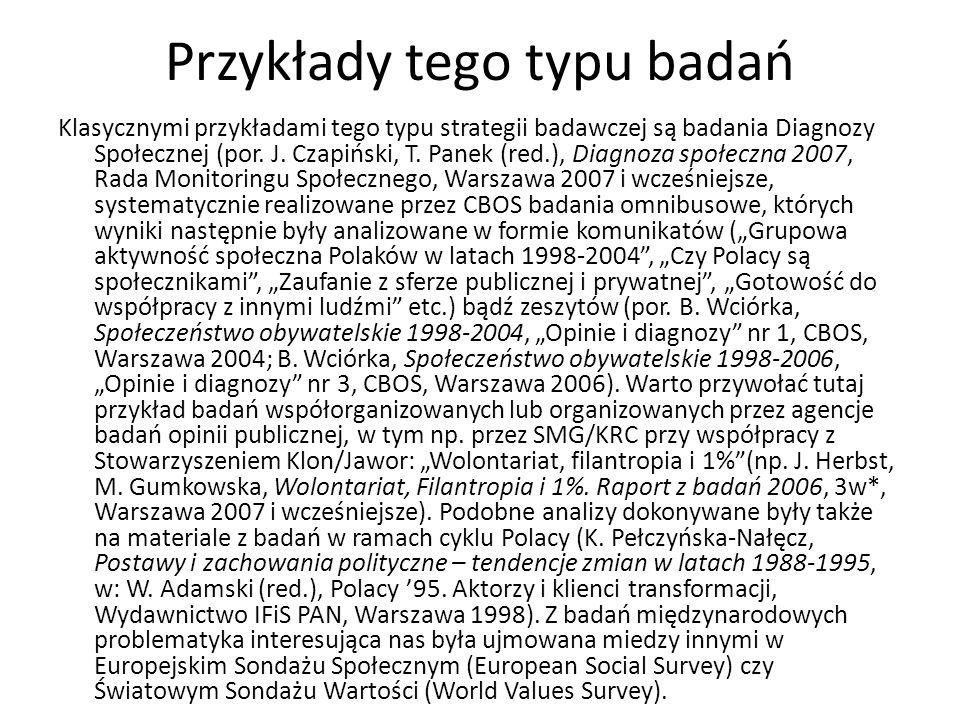 Przykłady tego typu badań Klasycznymi przykładami tego typu strategii badawczej są badania Diagnozy Społecznej (por. J. Czapiński, T. Panek (red.), Di