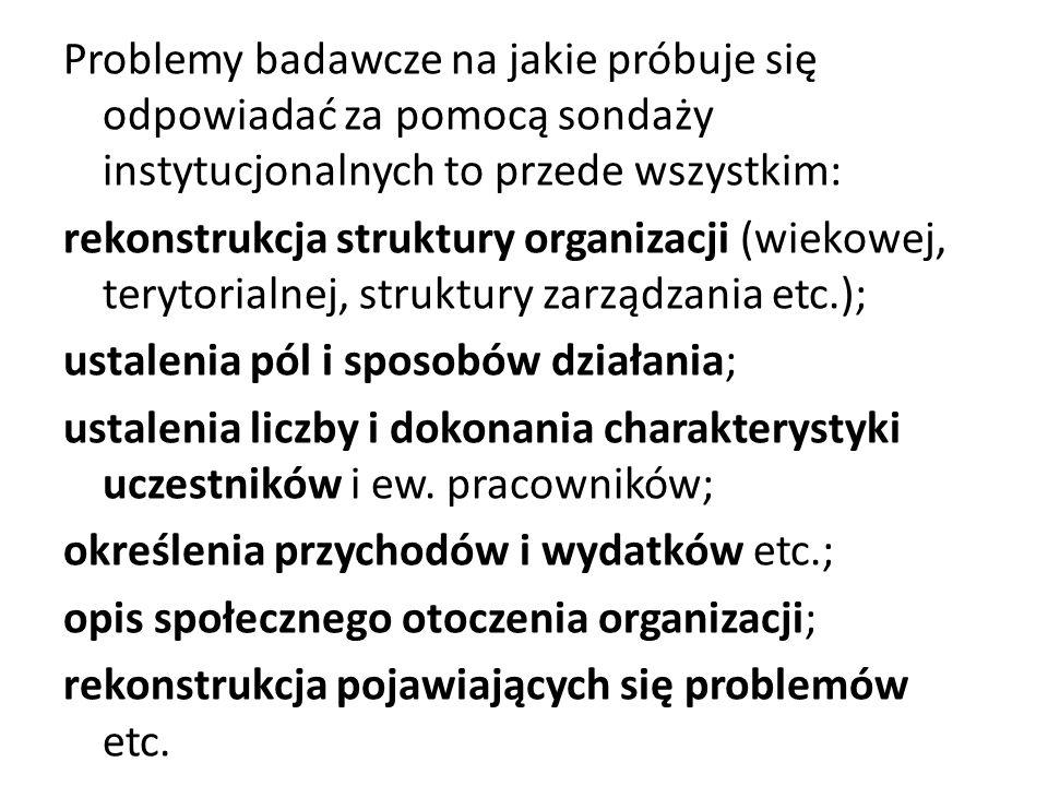 Problemy badawcze na jakie próbuje się odpowiadać za pomocą sondaży instytucjonalnych to przede wszystkim: rekonstrukcja struktury organizacji (wiekow