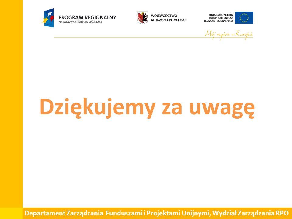 Dziękujemy za uwagę Departament Zarządzania Funduszami i Projektami Unijnymi, Wydział Zarządzania RPO