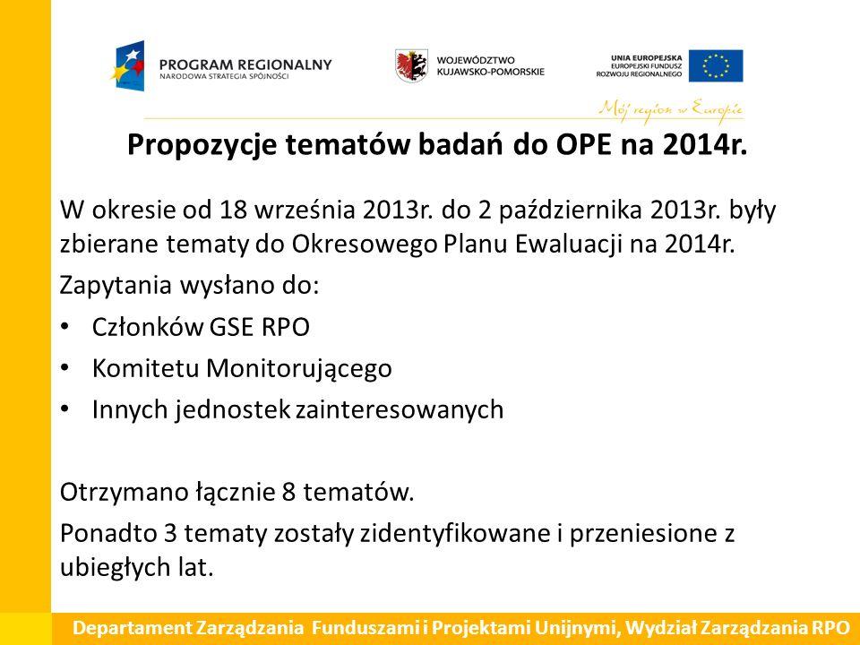 Propozycje tematów badań do OPE na 2014r.