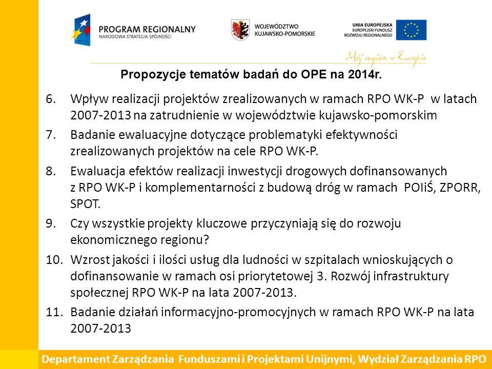 6.Wpływ realizacji projektów zrealizowanych w ramach RPO WK-P w latach 2007-2013 na zatrudnienie w województwie kujawsko-pomorskim 7.Badanie ewaluacyjne dotyczące problematyki efektywności zrealizowanych projektów na cele RPO WK-P.