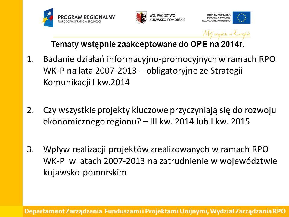 1.Badanie działań informacyjno-promocyjnych w ramach RPO WK-P na lata 2007-2013 – obligatoryjne ze Strategii Komunikacji I kw.2014 2.Czy wszystkie projekty kluczowe przyczyniają się do rozwoju ekonomicznego regionu.